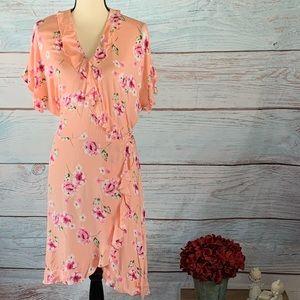 Pretty wrap around floral dress NWT